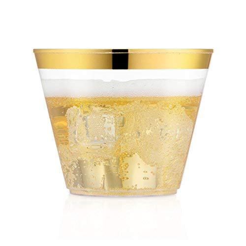 60 Gold Rimmed Plastic Cups ~ 9 Oz Clear Plastic Cups Tumblers ~Gold Rimmed Fancy Wedding Cups ~ Disposable Party Cups ~ Elegant Gold Rim