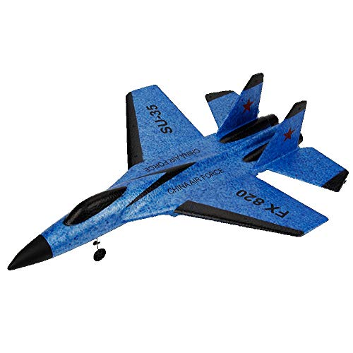 SU-35 RC Plane,Remote Control Helicopter Plane Glider Airplane EPP Foam 3.5CH Toys (Blue, SU-35)