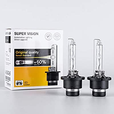 D4S HID Bulbs 35W 6000K Pure White AC Car Auto Xenon Headlight Replace Replacement OEM Factory Headlamp High Low Beam Light Bulb: Automotive