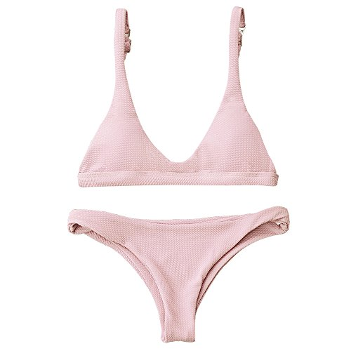 ZAFUL Women Padded Scoop Neck 2 Pieces Push Up Swimsuit Revealing Thong Bikinis V Bottom Style Brazilian Bottom Bra Sets(PINK M) -