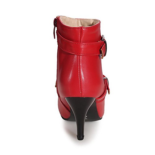 AgooLar Women's Closed Pointed Toe Low Top High Heels Solid Pu Boots Red ME88SaU0R8