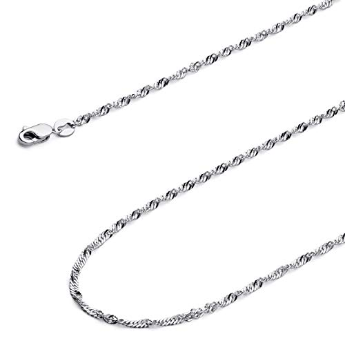 - Wellingsale 14k White Gold SOLID 1.8mm Polished Singapore Chain Necklace with Spring Ring Clasp - 18