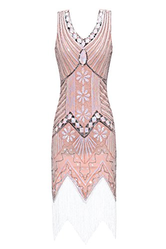 Metme Women's 1920s V Neck Beaded Fringed Gatsby Theme Flapper Dress for Prom Light Pink -