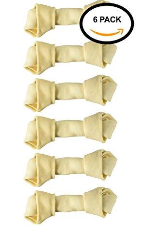 41QBSRQ5b0L - Dog rawhide bones Bulk pack of 6 natural rawhide protein treats knot bone chews Small