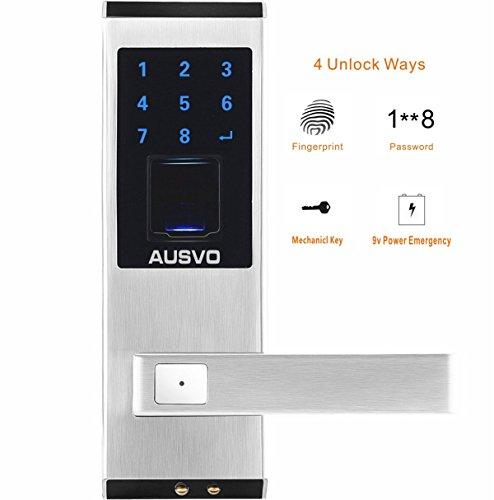 AUSVO Fingerprint Door Lock Biometric Smart Keyless Digital Touchscreen Keypad Lever Lockset with Knob Handle Stainless Steel