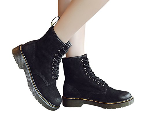 Genda 2Archer Womens Leather Lace-Up Winter Warm Lined Martin Boots Black k0WXKzbmMr