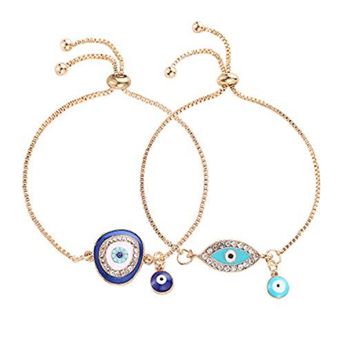 Dcfywl731 Luxury Gold Silver Crystal Evil Eye Charms Bracelet Blue Enamel Evil Eye Beads Bracelet for Women Jewelry (2pcs Bracelet)