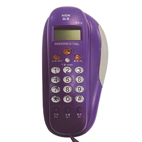 - XJRHB Wall-Mounted Landline Home Office Business Phone Caller ID Hotel Corridor Elevator Small Extension (Color : Purple)
