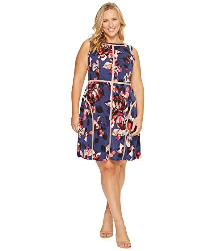 Adrianna Papell Women's Plus Size Floral Print Jersey Dress, Navy Multi, (Multi Print Jersey Dress)