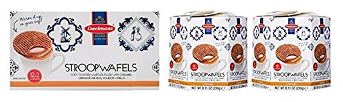 Daelmans Stroopwafels Caramel Hex 8 count, 8.11 oz (Pack of 2) & Daelmans Stroopwafels Caramel Pack Duo 12x2 (2.75 oz)