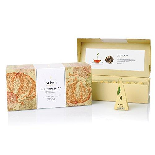 (Tea Forté Petite Presentation Box Tea Samplers, Assorted Variety Tea Box, 10 Handcrafted Pyramid Tea Infusers (Pumpkin Spice))