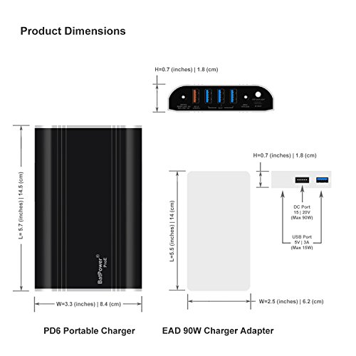 BatPower ProE 24000mAh PD6 Laptop PD USB-C Portable Charger Power Bank for Macbook Pro Touch Bar, HP Spectre, Lenovo Yoga, Asus, Dell Precision, XPS, Razer Blade Stealth, Acer and PD USB C devices by BatPower (Image #4)