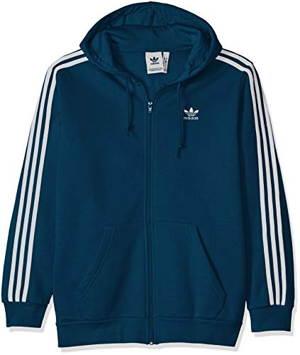 adidas Originals Men's 3-Stripes Full Zip Hoodie, Legend Marine, Small