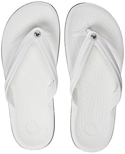 crocs Unisex Crocband Flip-Flop, White, 10 US Men / 12 US Women