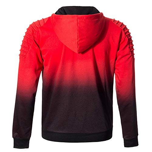 Tee Automne 2 Hiver Outwear Capuche Solid rouge Lonshell Sweat Tops Blouse Hommes Longues Plaid Crop À Manches zwTqBxw