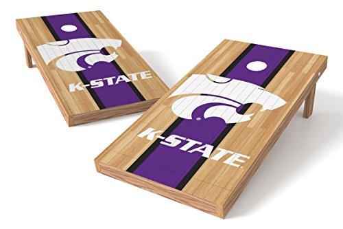 (Wild Sports NCAA College Kansas State Wildcats 2' x 4' Hardwood Authentic Cornhole Game Set)