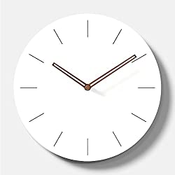 Simple Modern White Round Wooden Wall Clock 11 inch Non-ticking one AA battery powered (Time Bars)