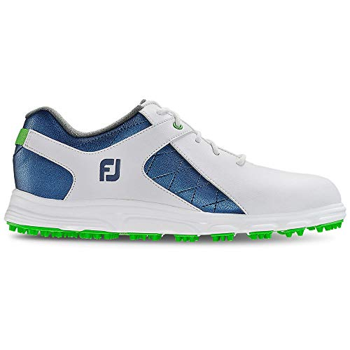 FootJoy Boys Pro/SL Junior-Previous Season Style Golf Shoes, White/Blue, 5 M US Big Kid
