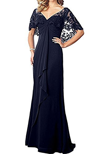 Honeydress Women's Prom Dress Lace Cape Sleeve V Neck Long Chiffon Evening Gown