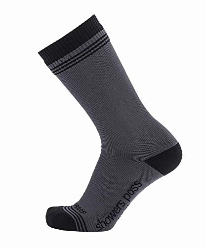 Showers Pass Waterproof Breathable Multisport Crosspoint Crew Wool Socks - Unisex (Grey/Black - Large/X-Large)
