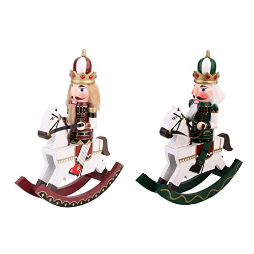 MonkeyJack Set of 2 PCS Hand Painted Soldier Nutcracker On Rocking Horse Walnut Puppet Statue Christmas Decor Toy Gift