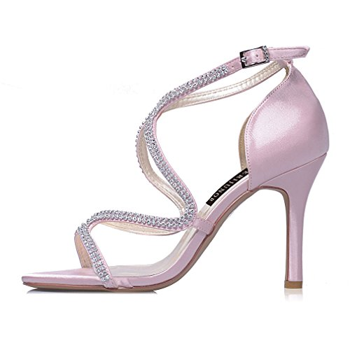 ERIJUNOR Wedding Bridal High Shoes Sandals Dress Women's Heel Party Dance Stiletto Strappy Pink Rhinestones zUqrzwfx