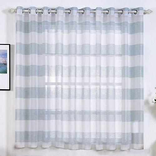 Efavormart 2 Panels Blue/White Faux Linen Woven Sheer Window Drapery Stripe Window Treatment Grommet Curtain Panel 52