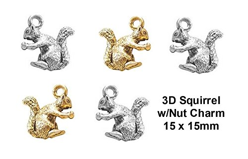 Nut Charm - PlanetZia 6pcs 3D Squirrel w/Nut Charms - USA Made - For Jewelry Making TVT-022-1 (Antique Silver)