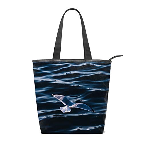 Women Canvas Handbag Seagull Sea Bird Wings Water Purse Shoulder Bag Messenger Bag Mom Bag