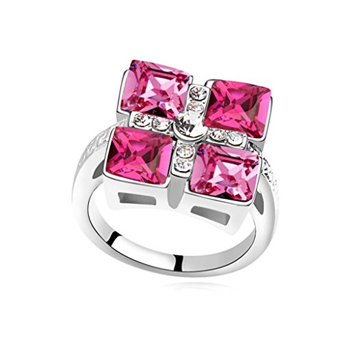 Epinki Gold Plated Ring, Womens Wedding Bands Rose Red Cross Square Crystal Ring Size ()