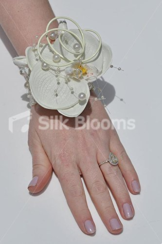 (Elegant Artificial White Dendrobium Orchid Wedding Wrist Corsage)