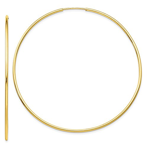 10k Polished Hoop - 10K Yellow Gold Polished Endless Tube Hoop Earrings from Roy Rose Jewelry