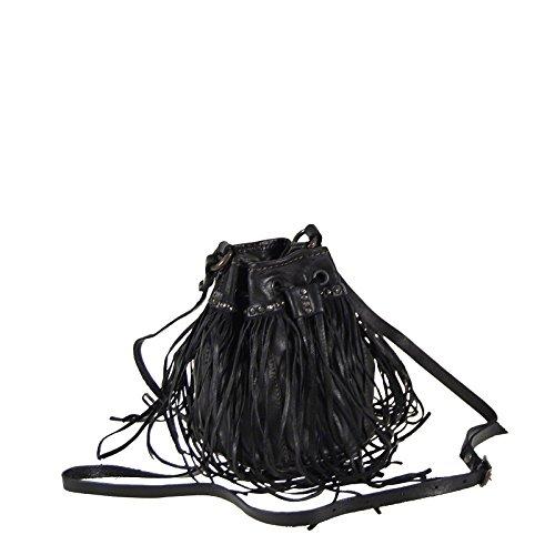 Campomaggi sac bandoulière C3900 Frans rivets de poche dames sac en cuir de sac à main noir
