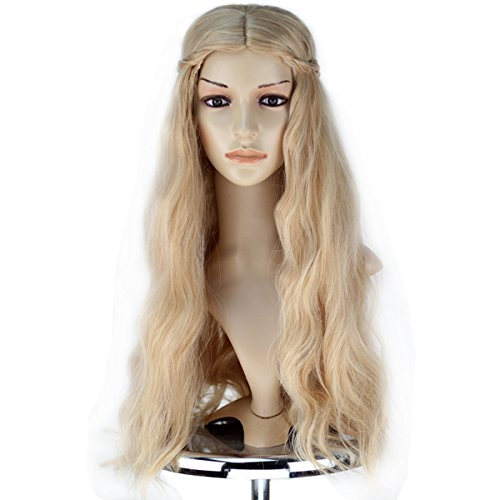 Girl Adult Princess Wig Long Wavy Mixed Blonde with Braid Cosplay Costume Wig ()