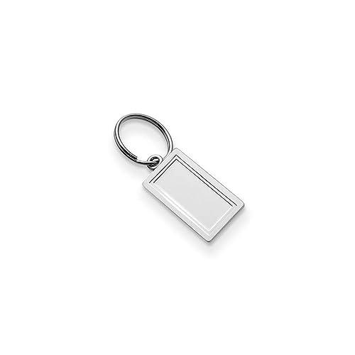 Diamond2deal - Llavero Rectangular de Plata de Ley 925 (Peso ...
