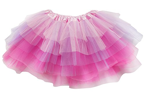 So Sydney Adult Plus Kids Size 6 Layer Fairy Tutu Skirt Halloween Costume Dress (XL (Plus Size), Pink Lavender Neon Pink)]()