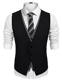 COOFANDY Men's Wedding Vest Slim Fit Layering Formal Business Waistcoat