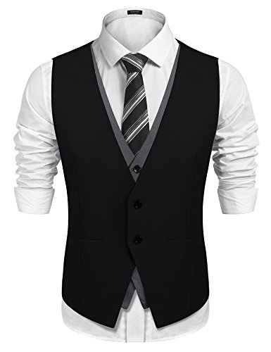 COOFANDY Men's Slim Fit Vest Layering Formal Business Wedding Waistcoat Skinny Tuxedo Vests