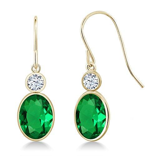Gem Stone King 2.52 Ct Oval Green Nano Emerald 14K Yellow Gold Earrings