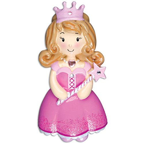 (Personalized Child Princess Girl Christmas Tree Ornament 2019 - Beautiful Fairy-Tale Cinderella Baby Glitter Dress Crown Star Rhinestone Wand Kid Toy Yellow Blonde Gift Year - Free Customization)