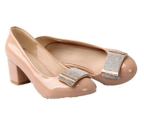 Damen On Aprikose Kitten Pull Pumps Schuhe Heels Zehe geschlossene Runde VogueZone009 Feste TRAqw11