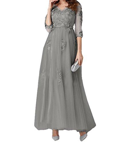 mia Grau Knoechellang Linie Brautmutterkleider Ballkleider A Spitze La Abendkleider Braut Tuell Promkleider 2018 7B7xaR