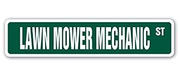 Decoración del hogar signo cortacésped mecánico calle signo regalo reparación mecánico Tractor Riding Diversión Segadora Metal