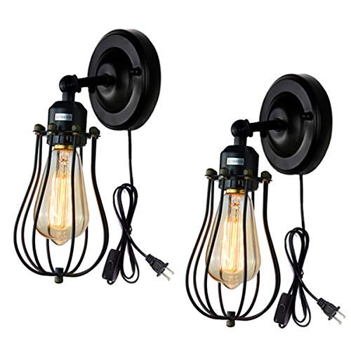 (Wire Cage Wall Sconce 2 Pack Industrial Wall Lamp Plug-in Cord Wall Light Edison E26 Base Black Light Fixture for Bedroom Garage Porch Mirror)