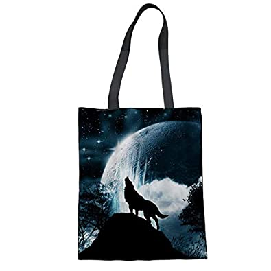 Amazon.com: Women Handbags Shopping Bag Wolf Printed Canvas Tote Bag Ladies Hand Bags Teenager Girls School Handbags Soft Beach Bag Color W1326Z22 ...