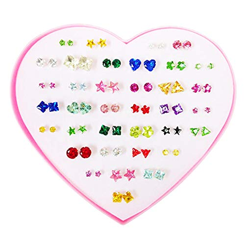 36 Pairs Heart Love Fashion Stud Earrings Set for Women Girl Kid Different Shapes Pink Love Gift Box ¡