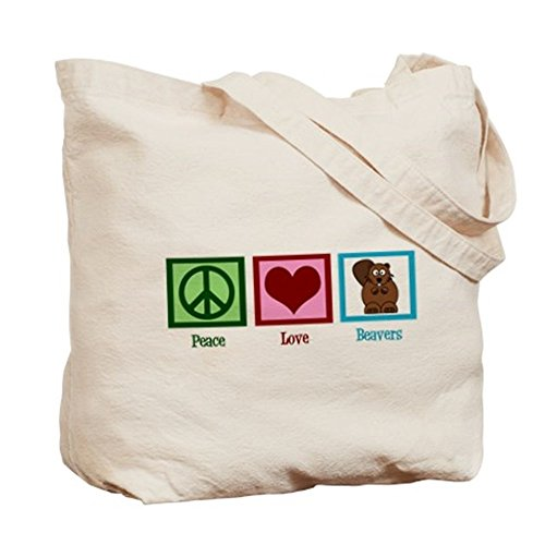Cafepress – Peace Love Beavers – Borsa di tela naturale, tessuto in iuta