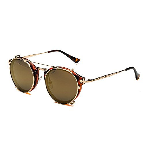 6d0726346a Dollger Clip On Sunglasses Steampunk Style and Round Mirrored Lens. View  here
