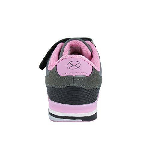 Hallenschuhe für Mädchen Sneaker zur Schule mit Klettverschluss (1077) Grau