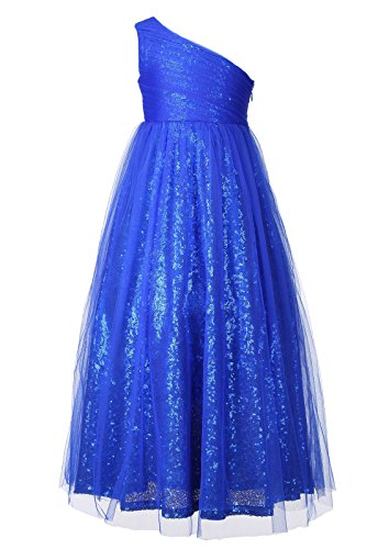 Happy Rose Flower Girl Dresses Maxi Long Sequins Tulle Pageant Dress for Party Royal Blue -